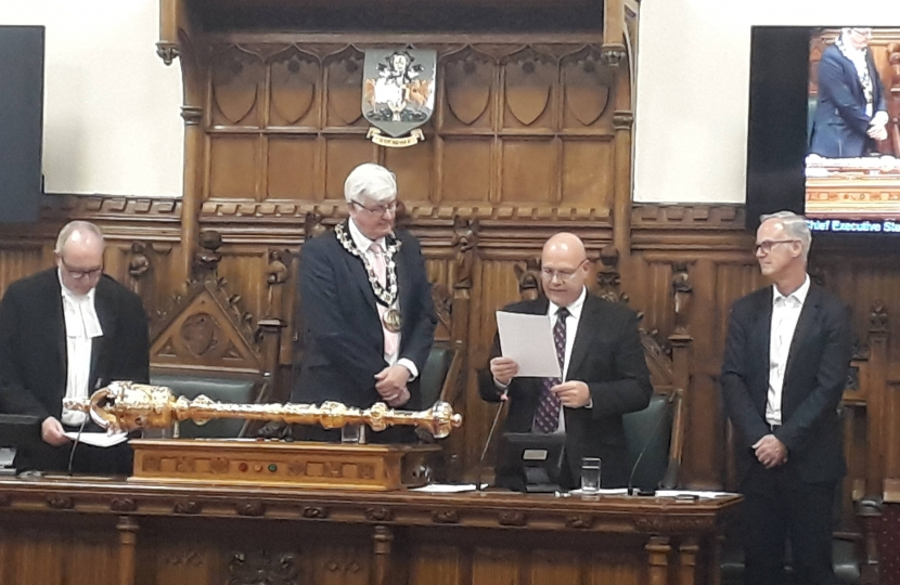 Councillor John Taylor is Sworn In at Rochdale Town Hall